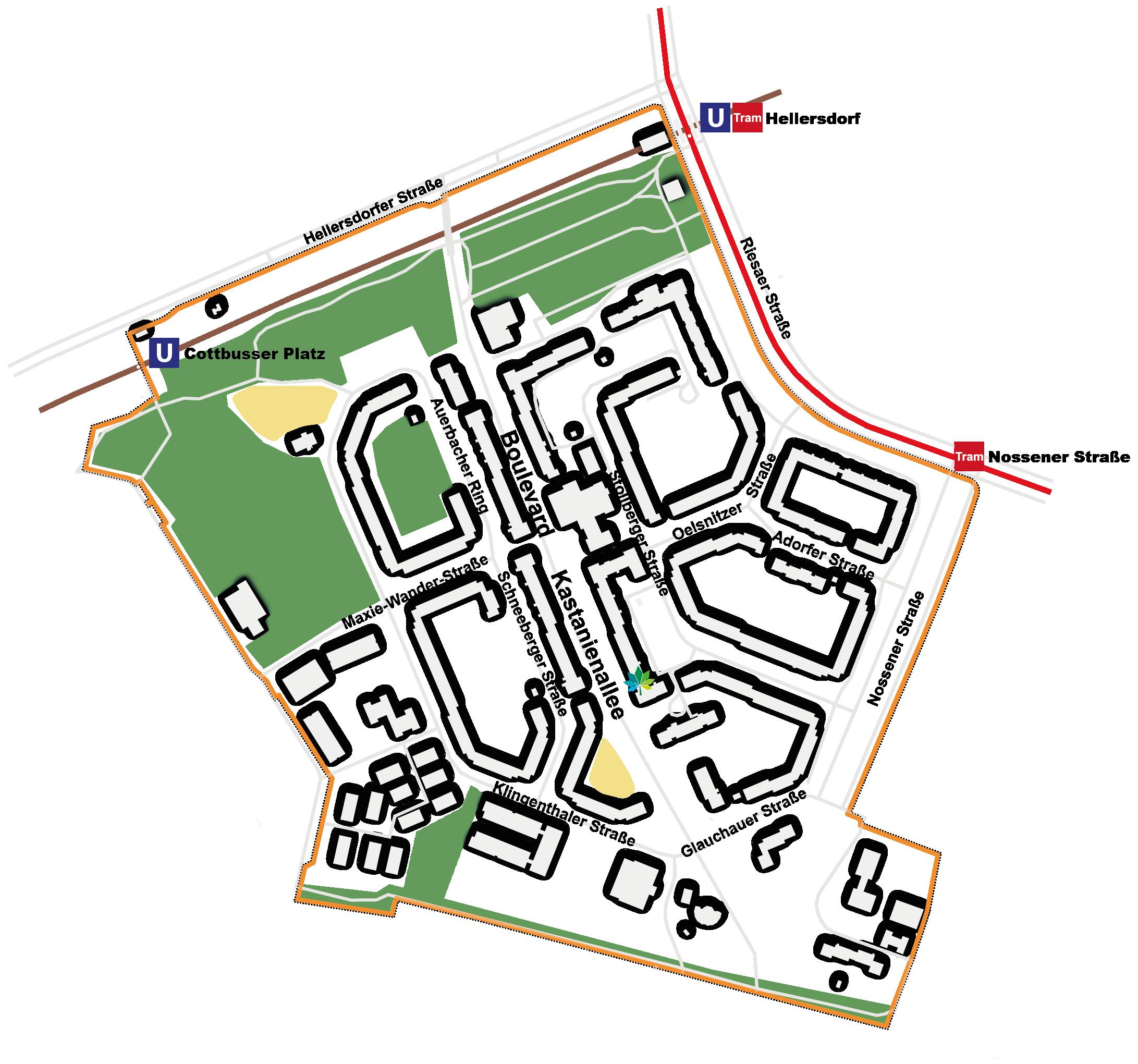 Gebietskarte des Quartiersmanagements Boulevard Kastanienallee